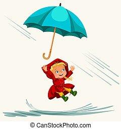 abbildung, regnen, gehen, vektor, jacke, schirm, aus, wasserdicht, himmelsgewölbe, tropfender , stiefeln, wasser, gummi, springende , regen, unter, pfützen, m�dchen, tropfen, kinder, kind