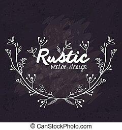 abbildung, rustic, vektor, schwarz, weißes, design