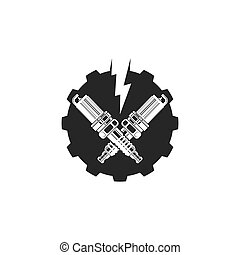 abbildung, sparkplug, ikone, vektor