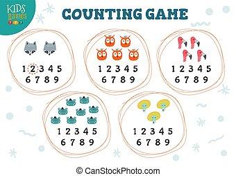abbildung, spiel, vektor, lernen, aktivität, zählen, kinder, vorschulisch