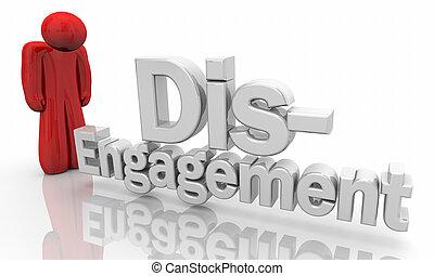 abbildung, traurige , person, wörter, links, disengagement, heraus, 3d