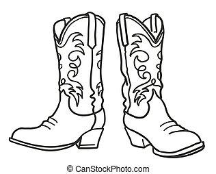 abbildung, vektor, boots., weißes, grafik, ziehen, hand, freigestellt, design, cowboy