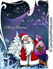 abbildung, vektor, jahr, weihnachten., neu , night.