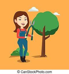 abbildung, vektor,  pruner, kleingarten, landwirt