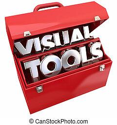 abbildung, visuell, lernen, werkzeugkasten, bildung, werkzeuge, ressourcen, 3d