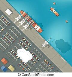 abbildung, von, a, containerhafen, in, wohnung, style., draufsicht