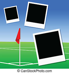 abbildung, von, a, fußballplatz, ecke, fahne