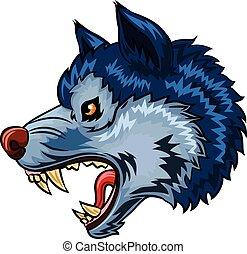 abbildung, von, böser , wolf