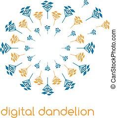 abbildung, von, begriff, digital, dandelion., vektor, logo