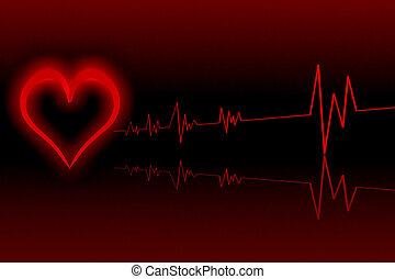 abbildung, von, herz, mit, kardiologie