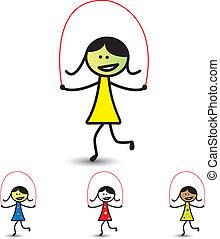 abbildung, von, junge mädchen, spielende , seilspringen, spiel, &, haben, fun., der, grafik, shows, kinder, genießen, ihr, zeit, und, trainieren, für, gesundheit, an, der, gleich, zeit