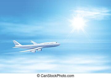 abbildung, von, motorflugzeug, in, der, himmelsgewölbe, mit, sonne
