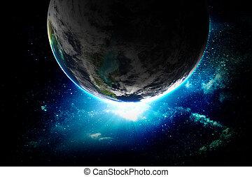 abbildung, von, schöne , planet, in, raum