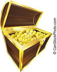 abbildung, von, schatztruhe, enthalten, gold prägt