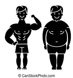 abbildung, vorher, nach, -, freigestellt, dicker , zeichen, vektor, schwarzer hintergrund, fitness, ikone, kerl, starker mann
