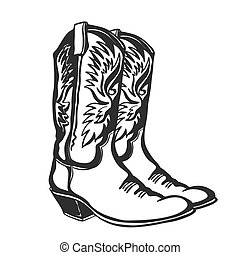 abbildung, weißes, grafik, vektor, freigestellt, cowboy, design, boots.