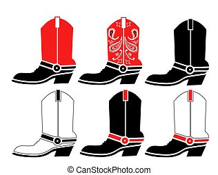 abbildung, weißes, grafik, vektor, freigestellt, satz, cowboy, design, boots.