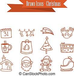 abbildung, weihnachten, sammlung, heiligenbilder