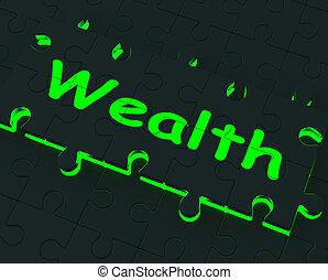 abbondanza, puzzle, esposizione, ricchezza, ricchezza