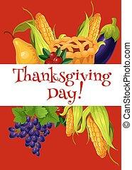 abbondanza, ringraziamento, giorno, bandiera, pasto, augurio
