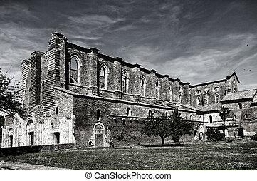 abbotskloster, galgano, italien, san, tuscan