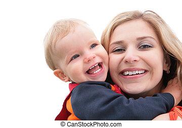 abbracciare, bambino, madre