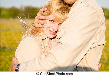 abbracciare, coppia, amare