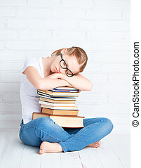 abbracciare, libri, addormentato, studente, ragazza, ired