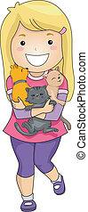 abbracciare, ragazza, gattini