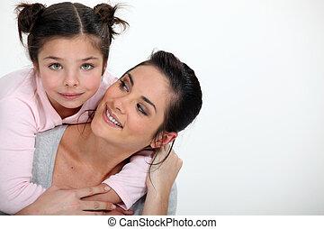 abbracciare, ragazza, giovane, lei, madre