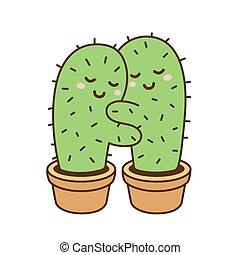 abbraccio, cactus, illustrazione