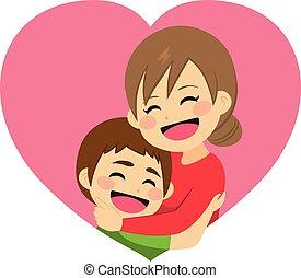 abbraccio, giorno, madre