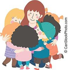 abbraccio, gruppo, insegnante, illustrazione, bambini