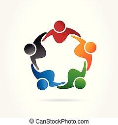 abbraccio, logotipo, vettore, immagine, persone, lavoro squadra