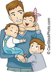abbraccio, padre, bambini, fratelli