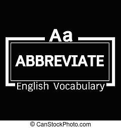 ABBREVIATE english word vocabulary illustration design