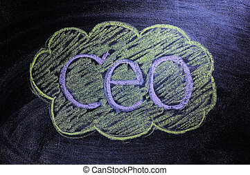 Abbreviation 'CEO' written on the blackboard
