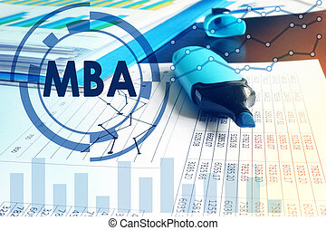 Abbreviation MBA (Master of Business Administration) on a financial background.