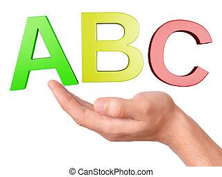 abc, буквы, задний план, символ, рука, держа, белый