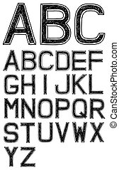abc, 字母表, 手, 矢量, 洗禮盆, 3d, 畫