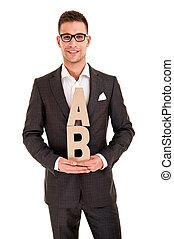 abc, 手紙, クラシック, 若い, スーツ, 人, ハンサム