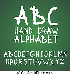 abc, 手紙, 黒板, アルファベット, 書かれている手, ベクトル, 黒板, textured, 引かれる, 荒い, ∥あるいは∥, ブラシ