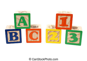 ABC 123 Blocks - Colorful children's blocks over white. ABC...