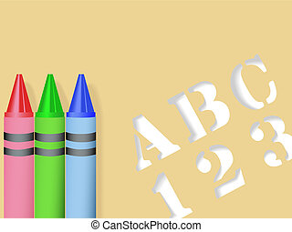ABC 123 Stencil Crayons - ABC 123 Stencil & Red Green Blue...