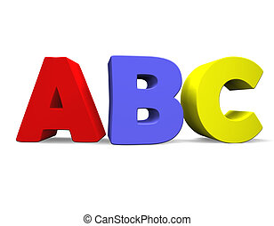 ABC 3D - 3d illustration looks the abc multicolored.