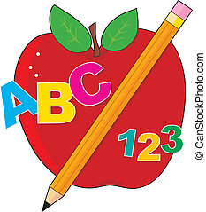 A red apple with a pencil ,the alphabet and numbers