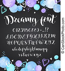 Cute calligraphy letters. Handwritten alphabet with watercolor spots on chalkboard. Uppercase, lowercase letters, numbers and symbols. Hand drawn modern script.