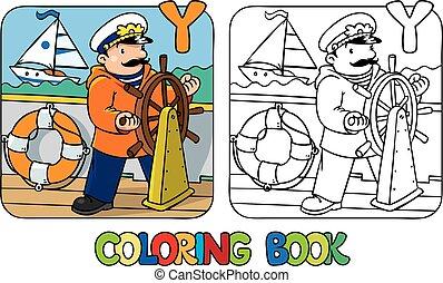abc, alfabeto, profissão, book., coloração, y, yachtsman