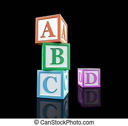 abc alphabet blocks - 3d alphabet blocks on a black ...