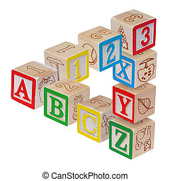 ABC alphabet blocks optical illusion, isolated on white